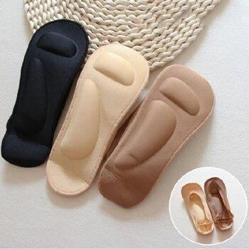 3D Women Socks Invisiable Socks Sponge Ice Silk Ladies No Show Socks Non-slip Boat Socks New Feet Socks For Women Low Cut Socks фото