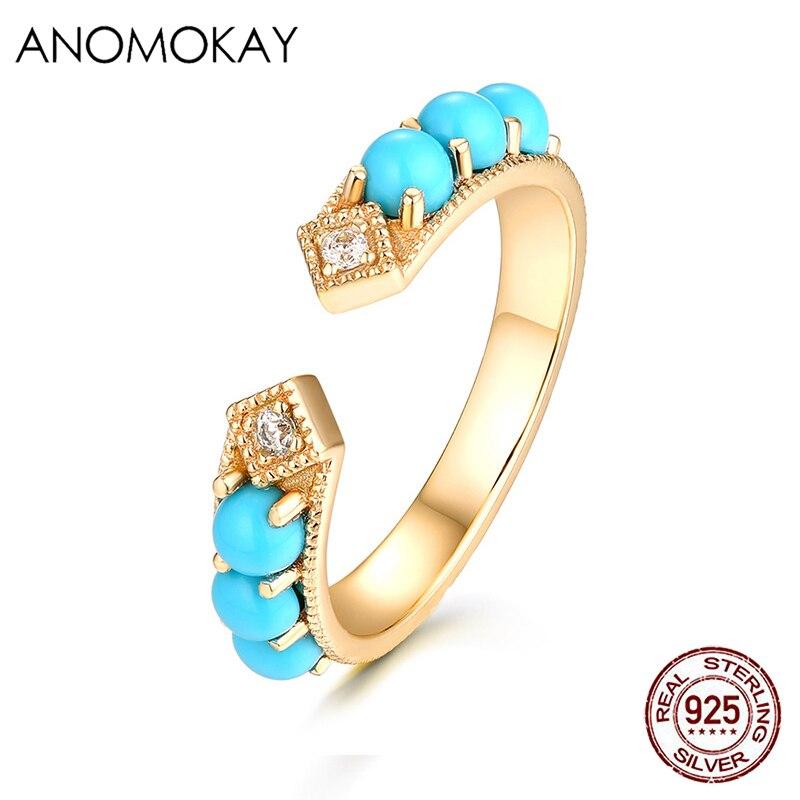 Anomokay yeni mavi lüks rhinestone altın renk yüzükler kadınlar için kız güzel beyaz CZ açık yüzük 925 ayar gümüş takı