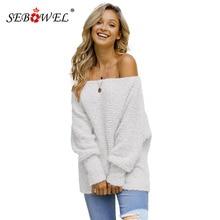SEBOWEL Casual Off Shoulder Woman Popcorn Knit Sweater Pullovers Long Sleeve Slash Female Autumn Winter Sweaters New Fashion