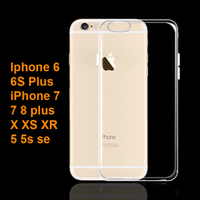 Clear Phone Case For iPhone 7 X Silicon Soft Transparent Back Cover XR XS Max 8 6 6s Plus 5S