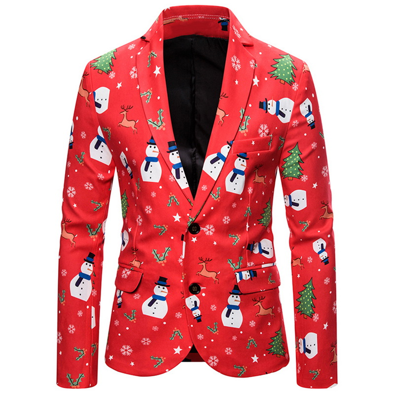 2019 New Casual Print Suit Christmas Pattern Mens Blazer Jacket Flat Barge Collar Mens Fashionmen's Gothic Fashion Party Blazer