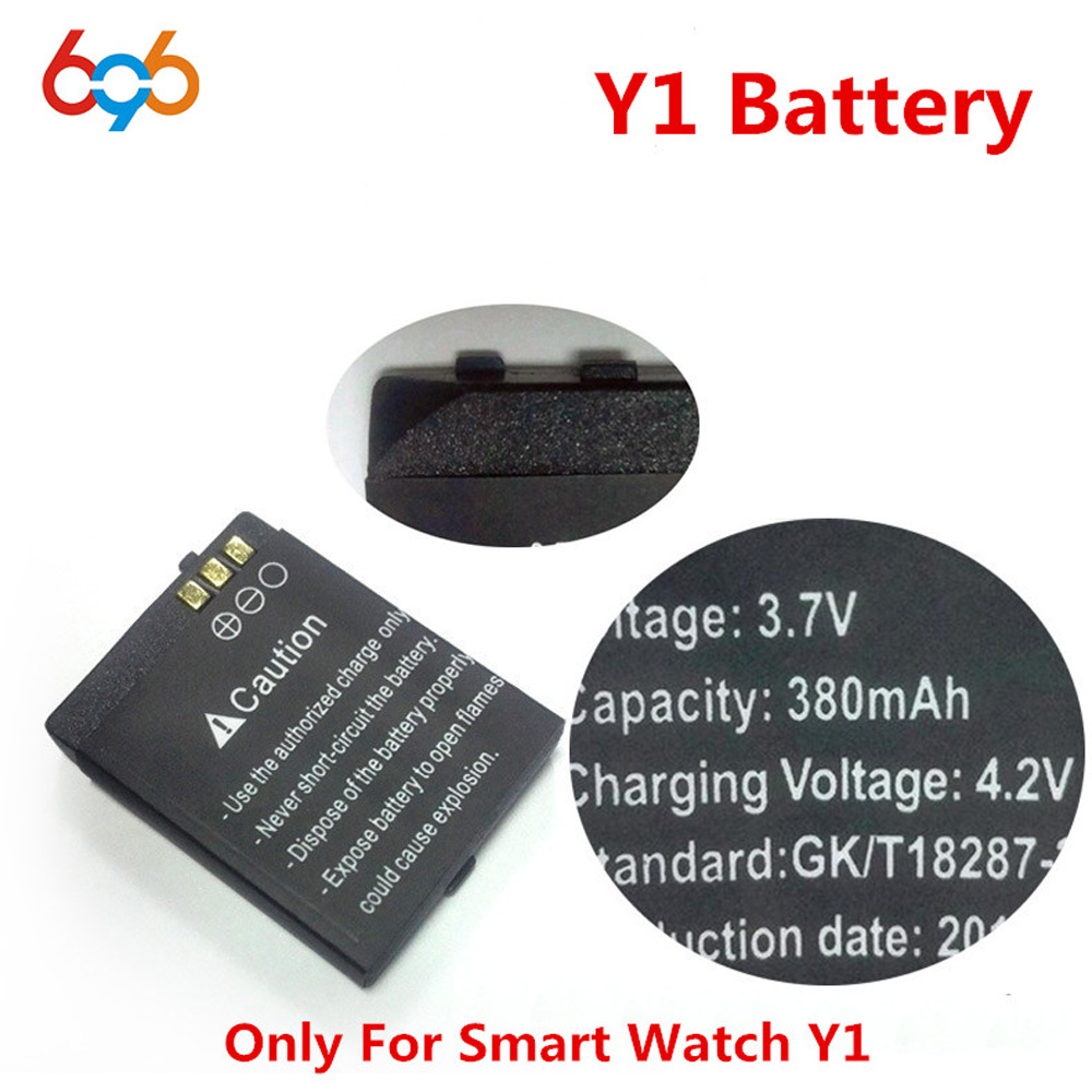 1PCS/Lot Rechargeable Li-ion Y1 Battery 3.7V 380MAH Smart Watch Battery Replacement Battery Only For Smart Watch Y1