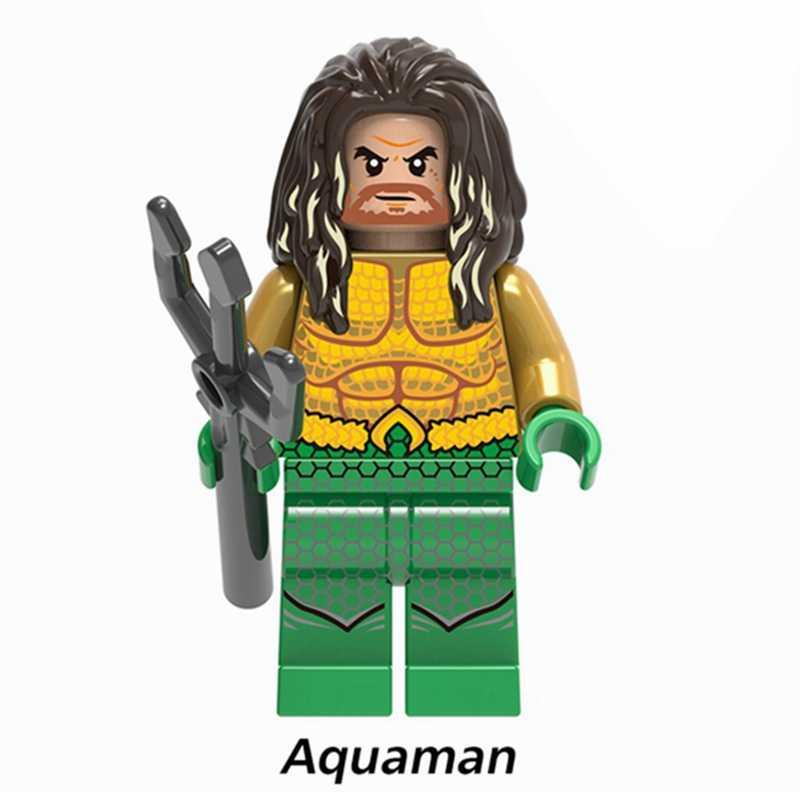 Justice League Super Heroes Batman Superman Wonder Woman Aquaman Cyborg แฟลชตัวเลขอาคารบล็อกของเล่นเด็ก
