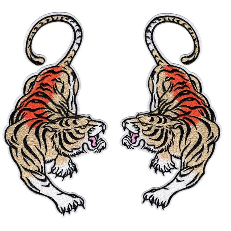 Remendo de tigre volta remendo ferro na roupa remendos do vintage para a roupa apliques impressão punk no camiseta aplicações diy