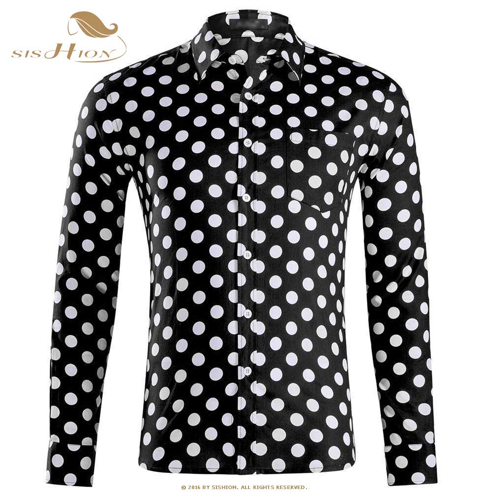 SISHION Autumn Vintage <font><b>Mens</b></font> <font><b>Polka</b></font> <font><b>Dots</b></font> <font><b>Shirts</b></font> Long Sleeve Cotton <font><b>Men</b></font> Black White Plus Size Single Breasted <font><b>Shirt</b></font> QY0339 image