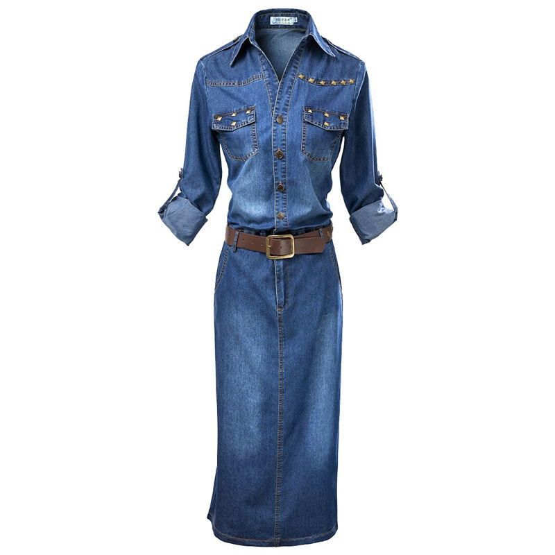 0416 Summer Blue Jean Dresses For Women Fashion Short Sleeve Streetwear Long Denim Dresses Plus Size XXXL Casual Clothing Lady in Dresses from Women 39 s Clothing