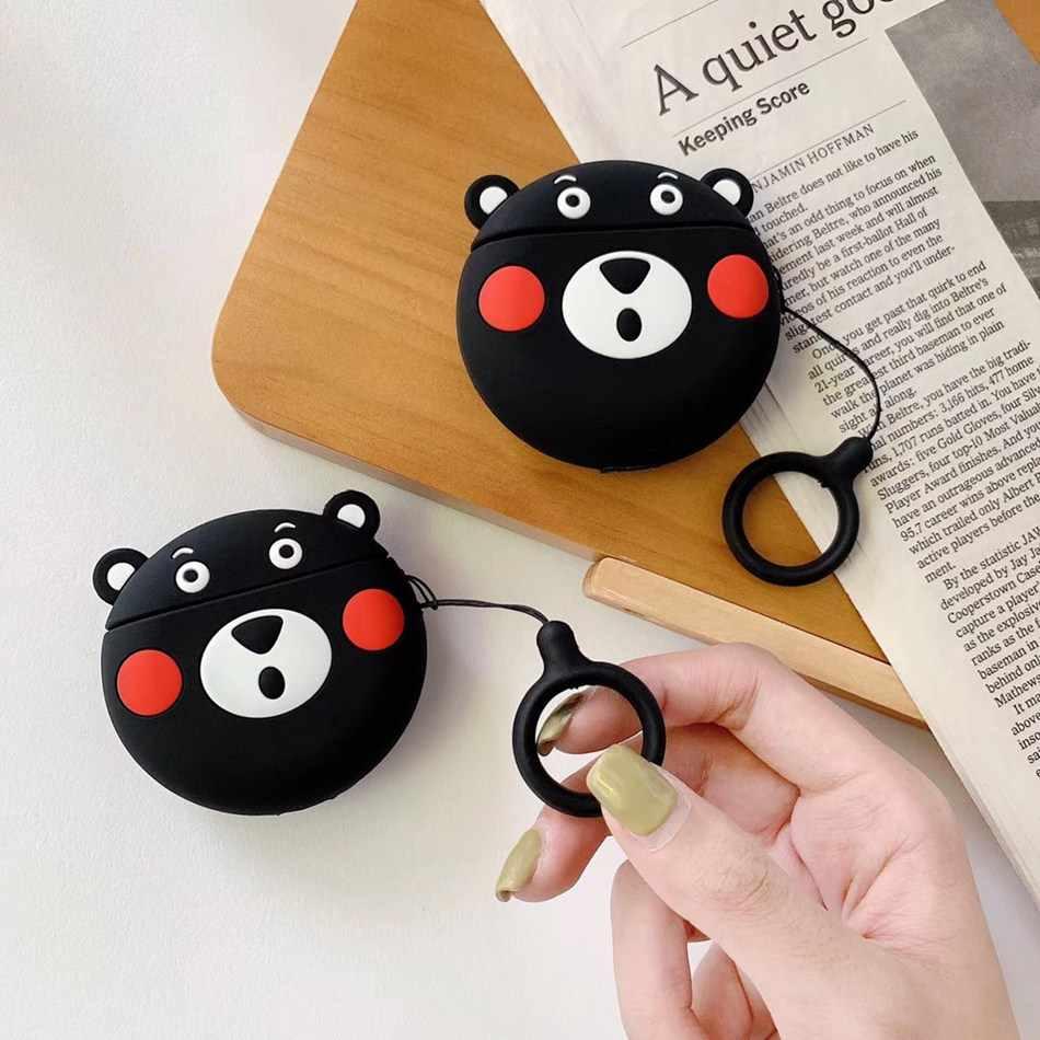 Caso do fone de ouvido Para AirPods Caso Urso Dos Desenhos Animados Capa de Silicone para o Ar Maçã 2 Bonito Saco de Fones de Ouvido para Earpods vagens Casos accessoires