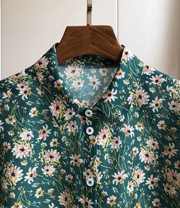 Image 3 - Woman Shirt Green Floral Cotton Silk Shirt Spring New Romantic Soft Long Sleeve Shirt