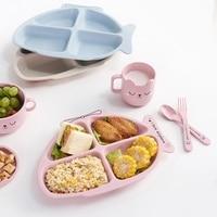 Baby bowl+spoon+fork Feeding Food Tableware Cartoon Bear Kids Dishes Eating Dinnerware Anti hot Training Dinner Plate 3Pcs/Set