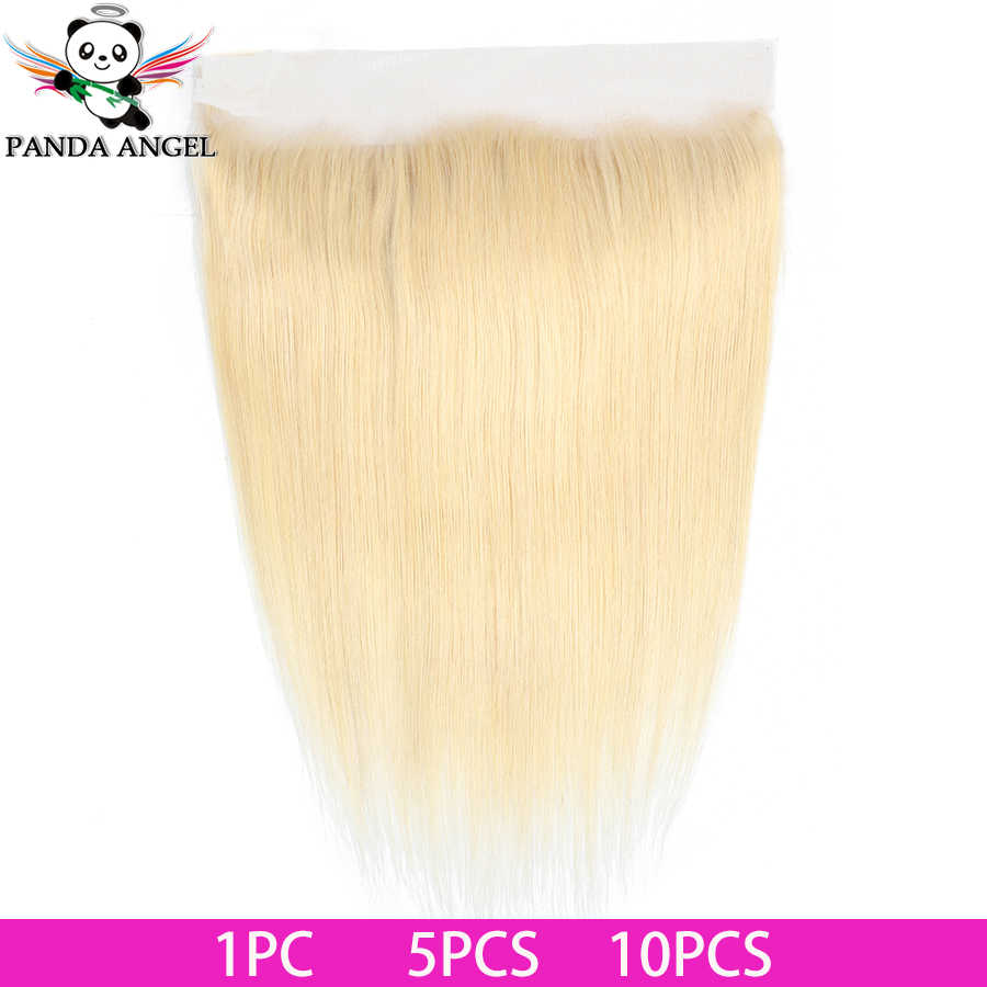 613 Blonde Brazilian Straight Lace Frontal Closure 13*4 With Baby Hair Middle/Free/Three Part Remy Human Hair Lace Closure Panda