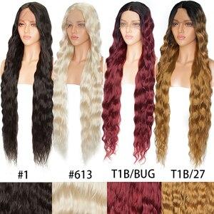 Image 5 - SNOILITE uzun dalgalı U parçası dantel ön peruk sentetik tutkalsız Ombre siyah kahverengi saç peruk kadınlar için Afro orta kısmı peruk