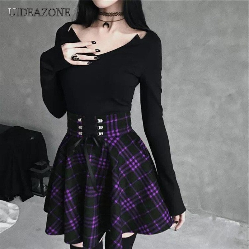 UIDEAZONE Gothic Plaid Women Mini Skirts Pleated Asymmetrical Ladies  Skirt Goth With Sashes Above Knee 2019 Halloween Party