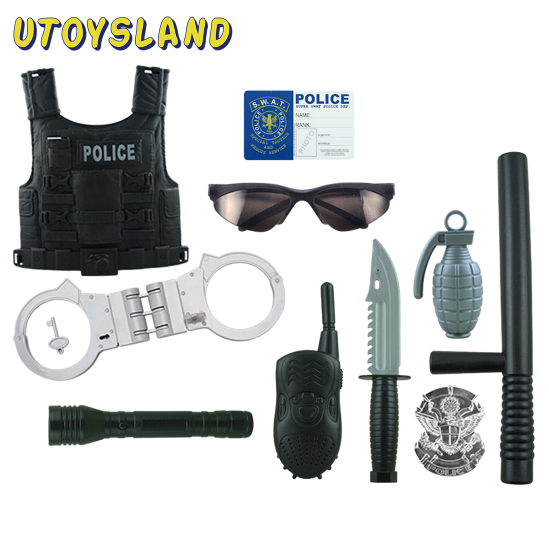 Hot 13Pcs Children Kids Role Play Police Costume Cop Dress-Up Clothes Playset For Fancy Dress Role Playing Children Gift - Black