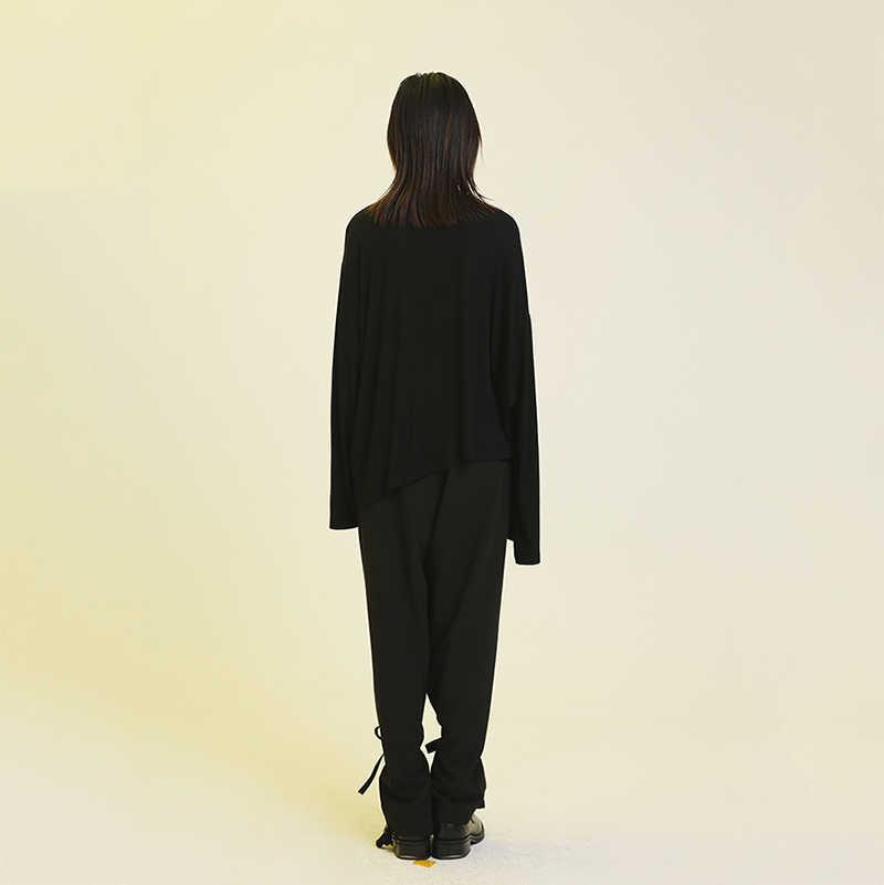 [EAM] Женская черная и белая свободная футболка оригинальная с круглым вырезом и длинными рукавами, весна-осень 2019 1A297