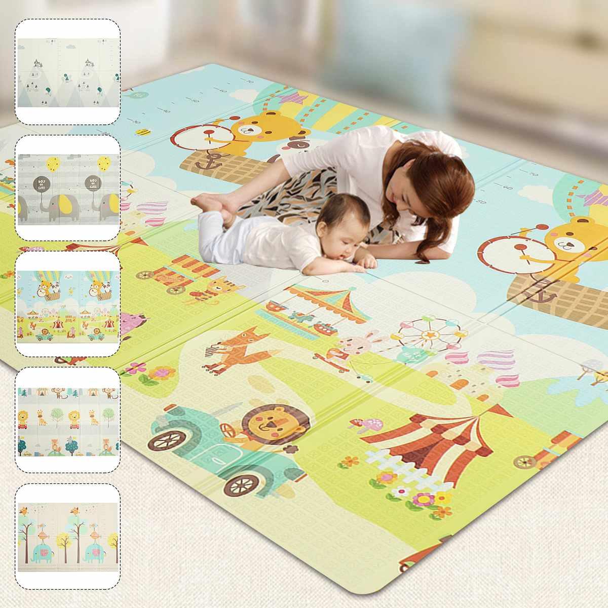 Foldable Baby Crawling Play Mat 200x150cm Thicked XPE Play Mat Dual-use Rug Floor Carpet Waterproof Climbing Mat Pad Playmat