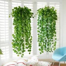 95cm folhas artificiais verdes planta videira festa de casamento família jardim parede decoração da parede trepadeira trepadeira lvy