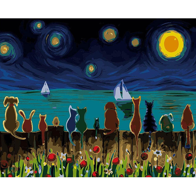 DIY Animals Scenery Oil Painting By Number Digital Home Wall Decoration