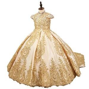 Image 2 - יוקרה זהב פרח ילדה שמלות לחתונה חרוזים ילדים ערב כדור שמלות ארוך ילדות קטנות תחרות שמלות עם רכבת