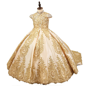 Image 2 - Lüks altın çiçek kız elbise düğün için boncuklu çocuklar akşam balo elbisesi uzun küçük kızlar pageant elbise tren ile
