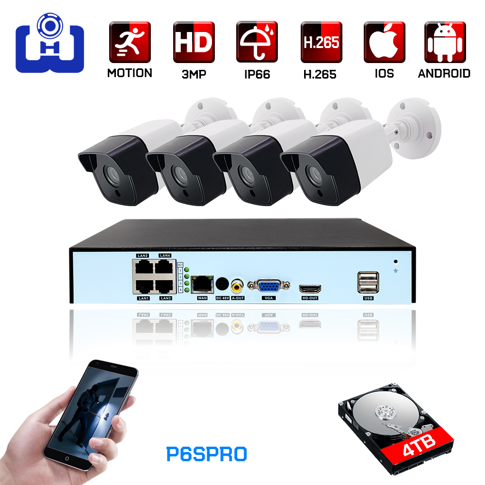 3mp H.265 4ch Poe Nvr Cctv Kit Outdoor Video Security Surveillance System 2ch/4ch Infrared Night Vision CCTV Camera Kit