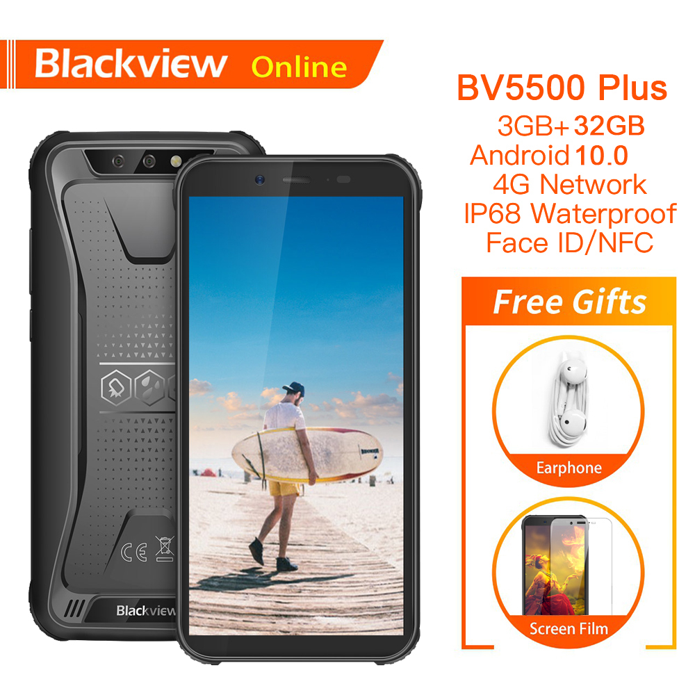 """Blackview BV5500 Plus 3GB+32GB Android 10.0 IP68 Waterproof Rugged Smartphone 5.5"""" 4400mAh Outdoor Mobile Phone 4G Cell Phone(China)"""