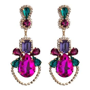 KMVEXO Colorful Crystal Drop Earrings Women Round Geometric Pendant Dangle Earrings Indian Bridal Statement Jewelry Party Bijoux 25