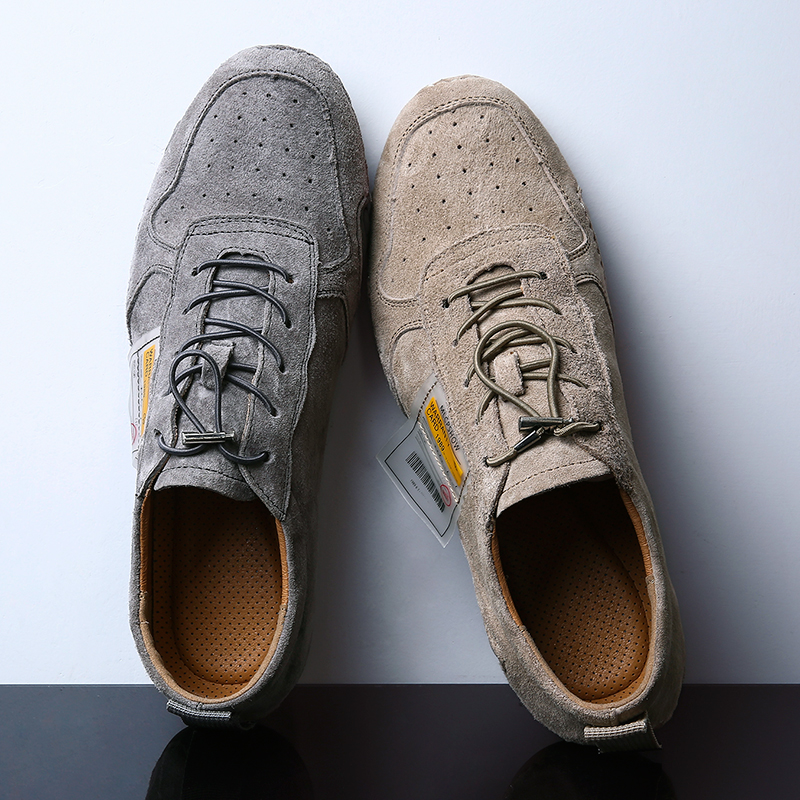 Plus Size Suede Leather Shoes Men Loafers Octopus Casual Leather Shoes Soft Quality Men Flats Walking Lace-Up Man Footwear