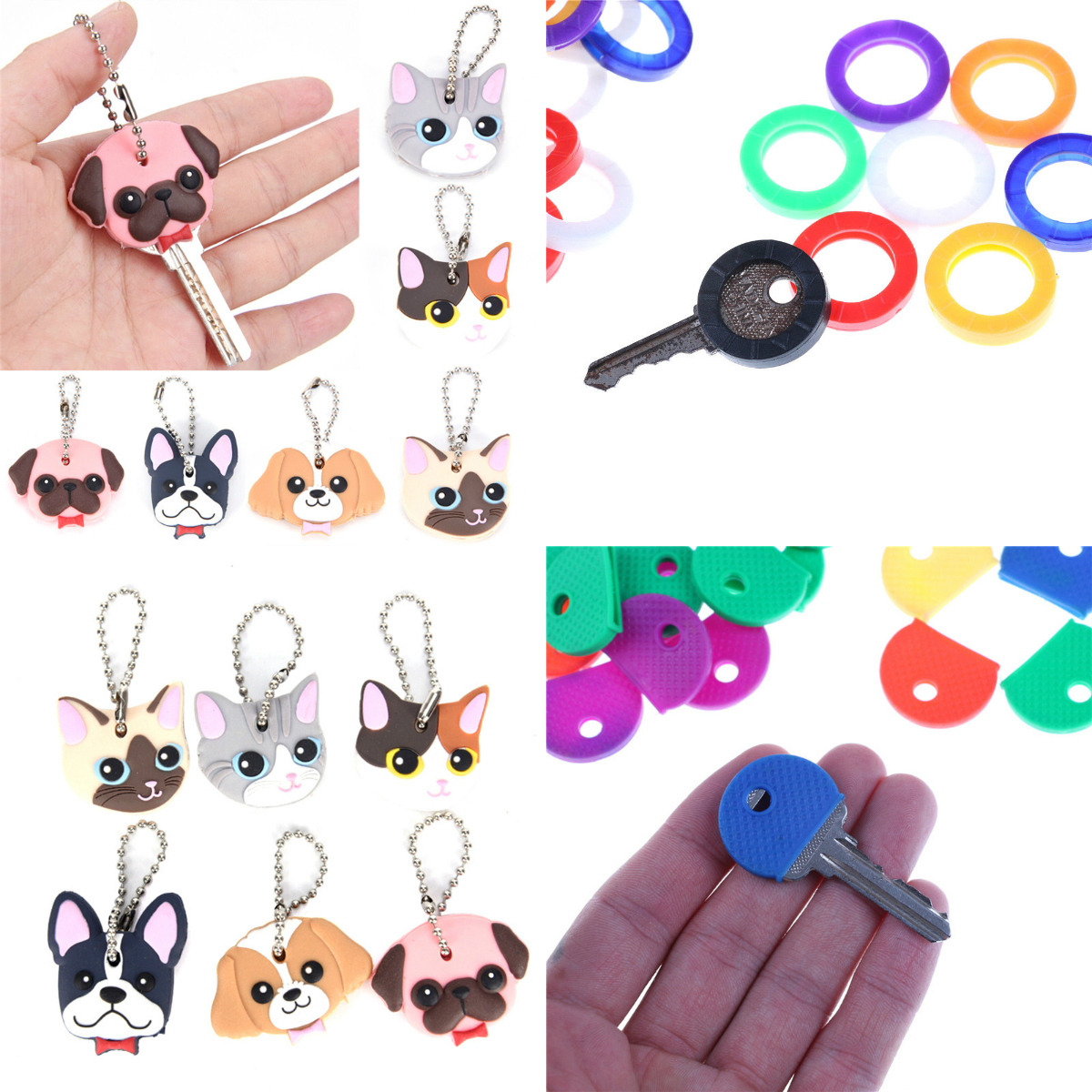 1 Pc Silicone Key Ring Cap Head Cover Keychain Case Chaveiro Bag Charm Key Chain Pendant Girl Women Gift Jewelry Llaveros