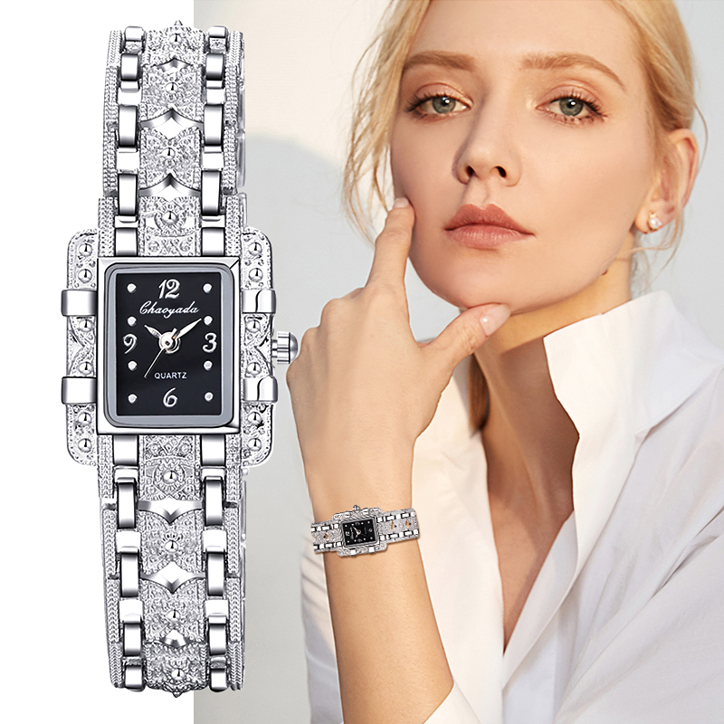 Women Watch Rectangle Dial Silver Stainless Steel Crystal Watches Fashion Quartz For Women Ladies Major Relojes Hot Sale Relojes