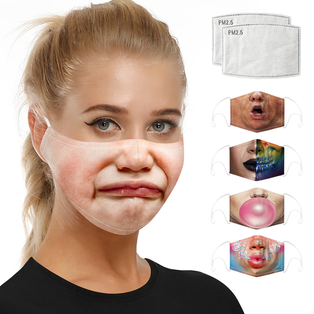 Unisex Face Masks Mouth Caps Respirator Digital Printing Dust Pollution Activated Carbon Filter Protective Face Mask Reusable