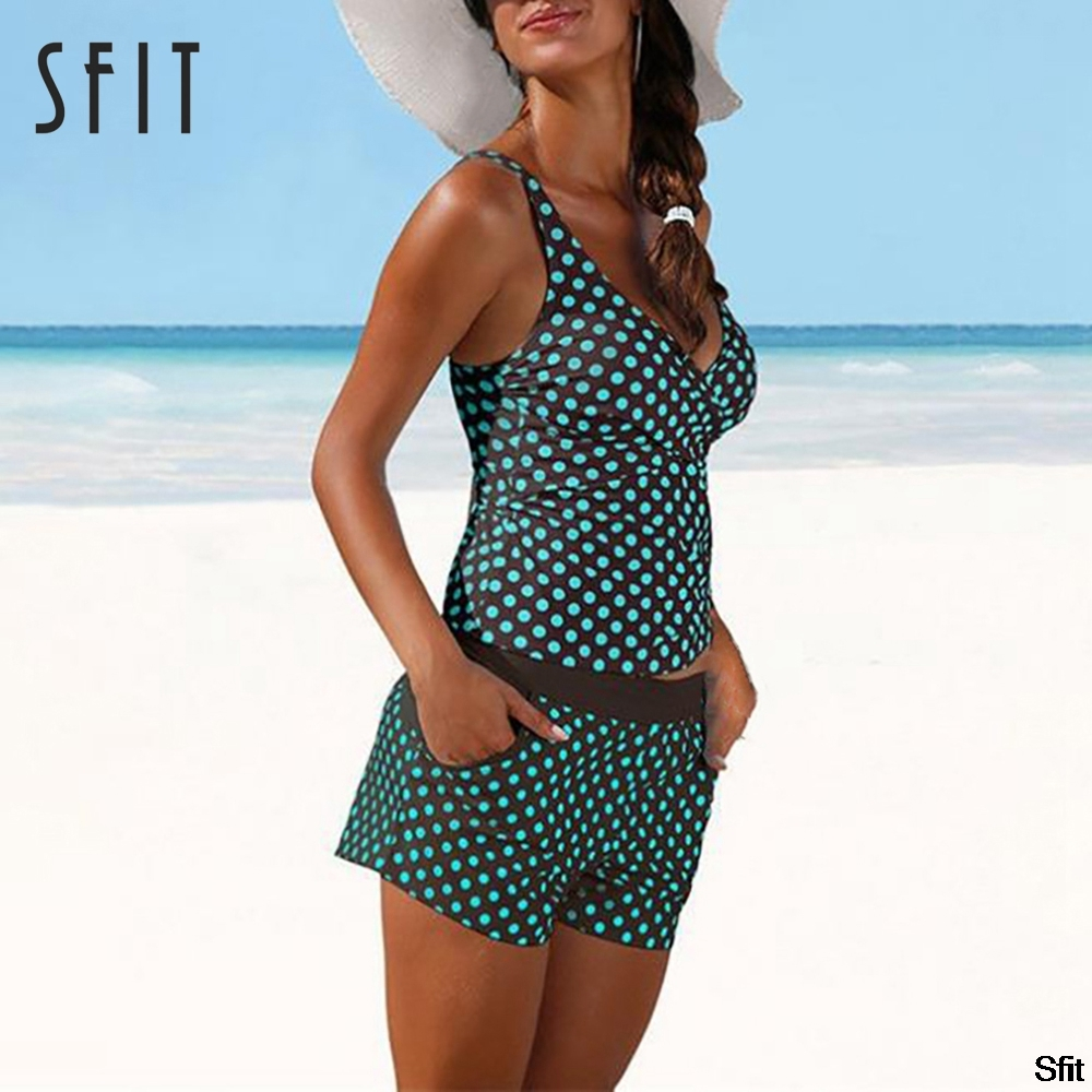 Sfit Sexy Dot Split Slim Bikini Set Closed Push Up Swimwear Plus Size Women Swimsuit Beach Bather Pool Swimming Bathing Suit