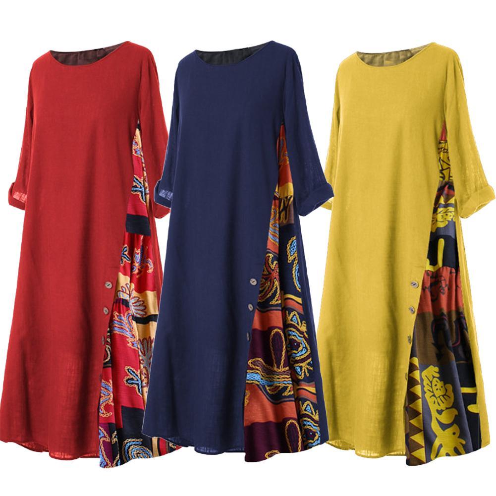 Summer Autumn Plus Size Women Dress Vintage O Neck 3/4 Sleeve Side...