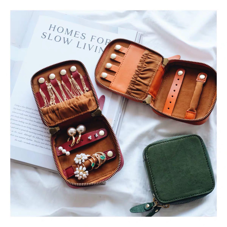 Customized Korean Style Genuine Italian Leather Lady Travel Jewelry Case Earrings Ring Case Multi-function Jewelry Storage Box