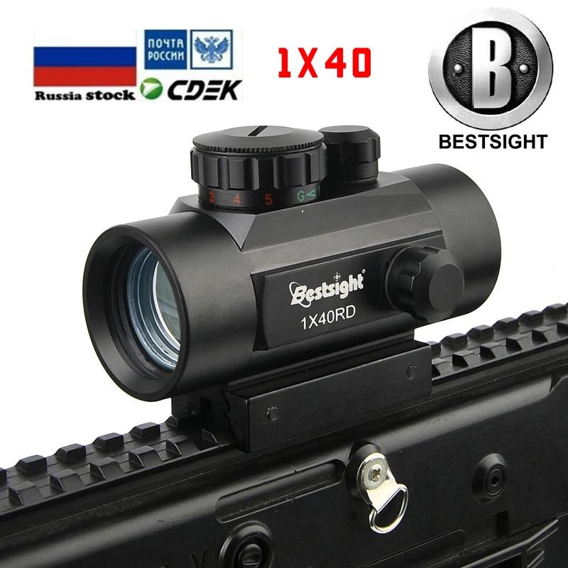 B BESTSIGHT1x40 2x40 3x44  Rifle Scope Red Green Dot Sight Illuminated Rangefinder Hunting Hunting Scope 11mm & 20mm Weaver Rail