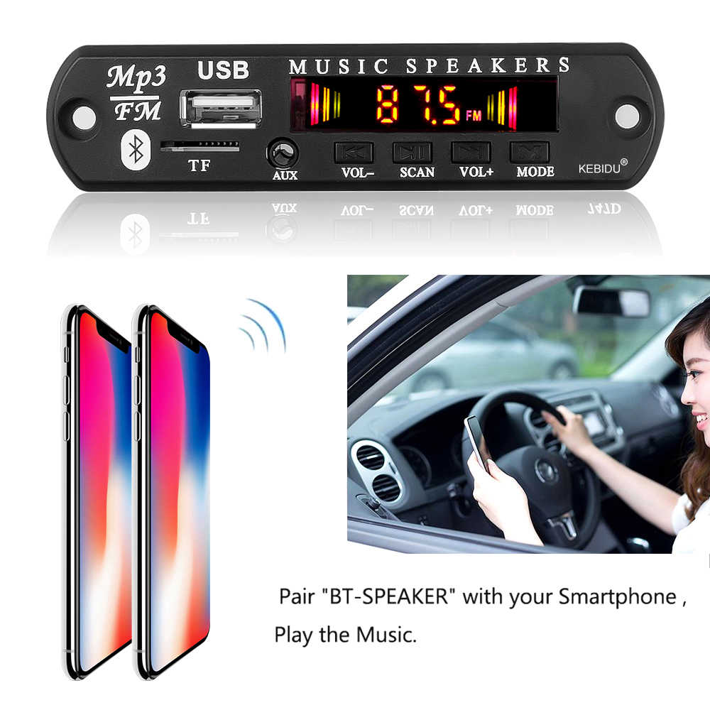 Venta caliente Bluetooth 5,0 Radio 5V 12V receptor de audio inalámbrico Kit de coche módulo FM reproductor Mp3 tablero decodificador 3,5 MM AUX USB Universal