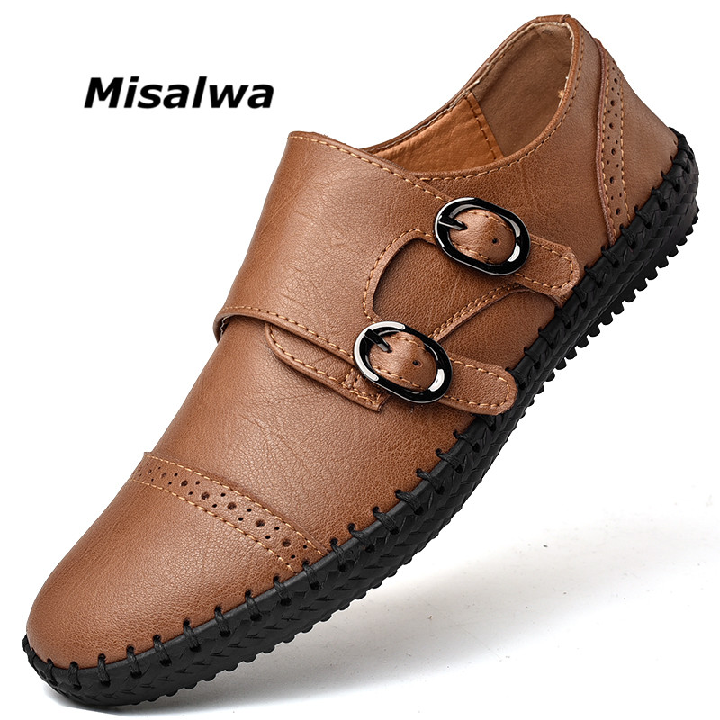 Misalwa Elastic Band Men Casual Oxford Leather Shoes Side Buckle Handmade Brogue Men Flats Plus Size 38-48 Men Loafers Summer