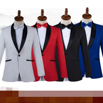 3 Days Shipping Male Shawl Lapel White Black Red Blue Prom Dress Suits Stage Singer Costume Homme Mens Suits With Pants