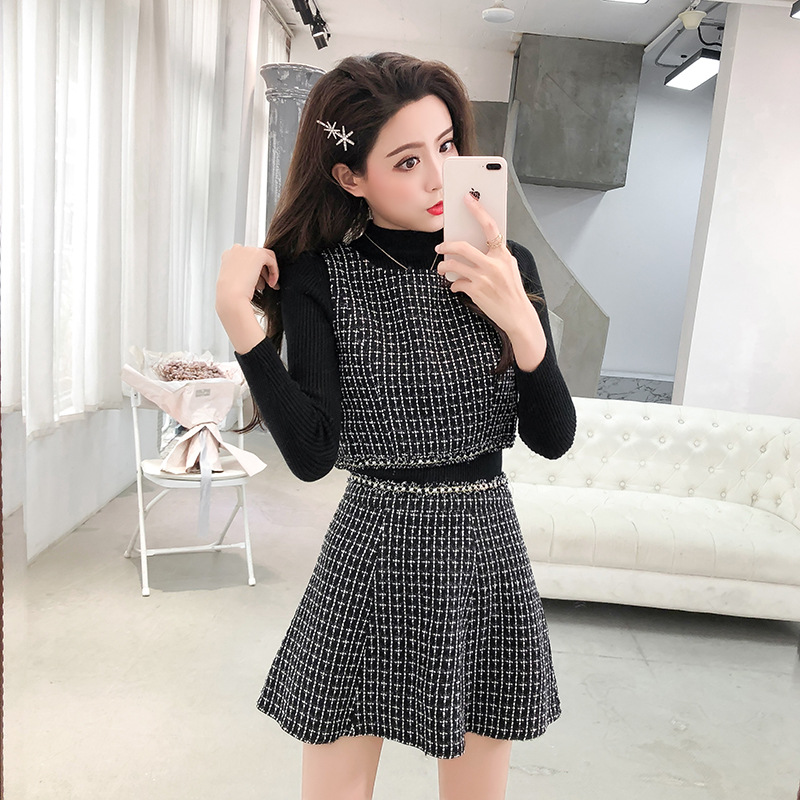 2019 New Style Graceful French Retro Dress Woolen Skirt Two-Piece Set