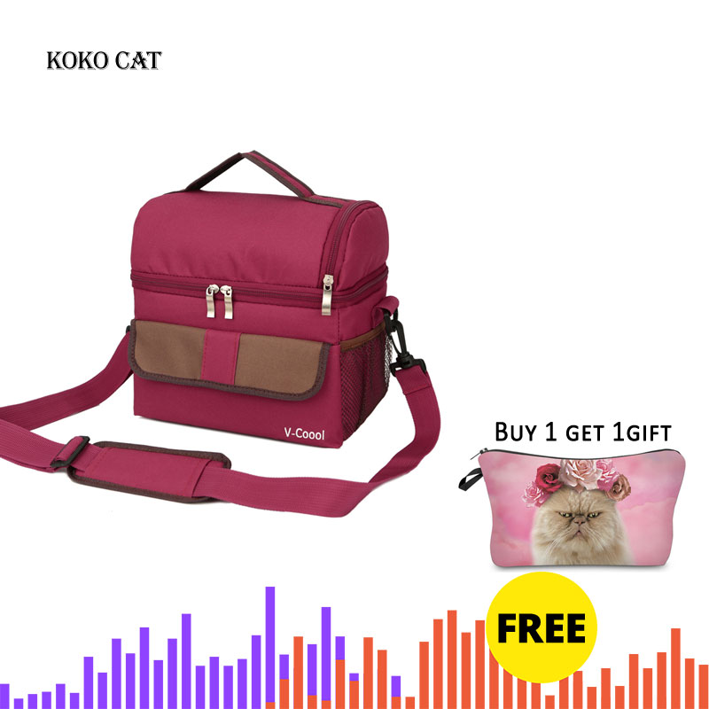 Double Layer Fashion Portable Multifunction lunch Bag Thermal Food Picnic Lunch Bags for Women Cooler Box Kids Milk