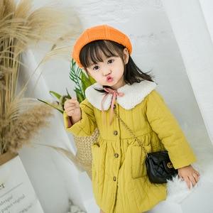 Image 3 - 2019 fashion new girl baby winter coat girls kids fur collar cotton padded warm princess coats children clothes jackets