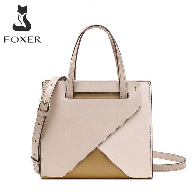 FOXER Top Grade Frauen Totes Patchwork Pendler Stil Große Kapazität Dame Handtasche Split Leder Weibliche Messenger Tasche hohe qualität