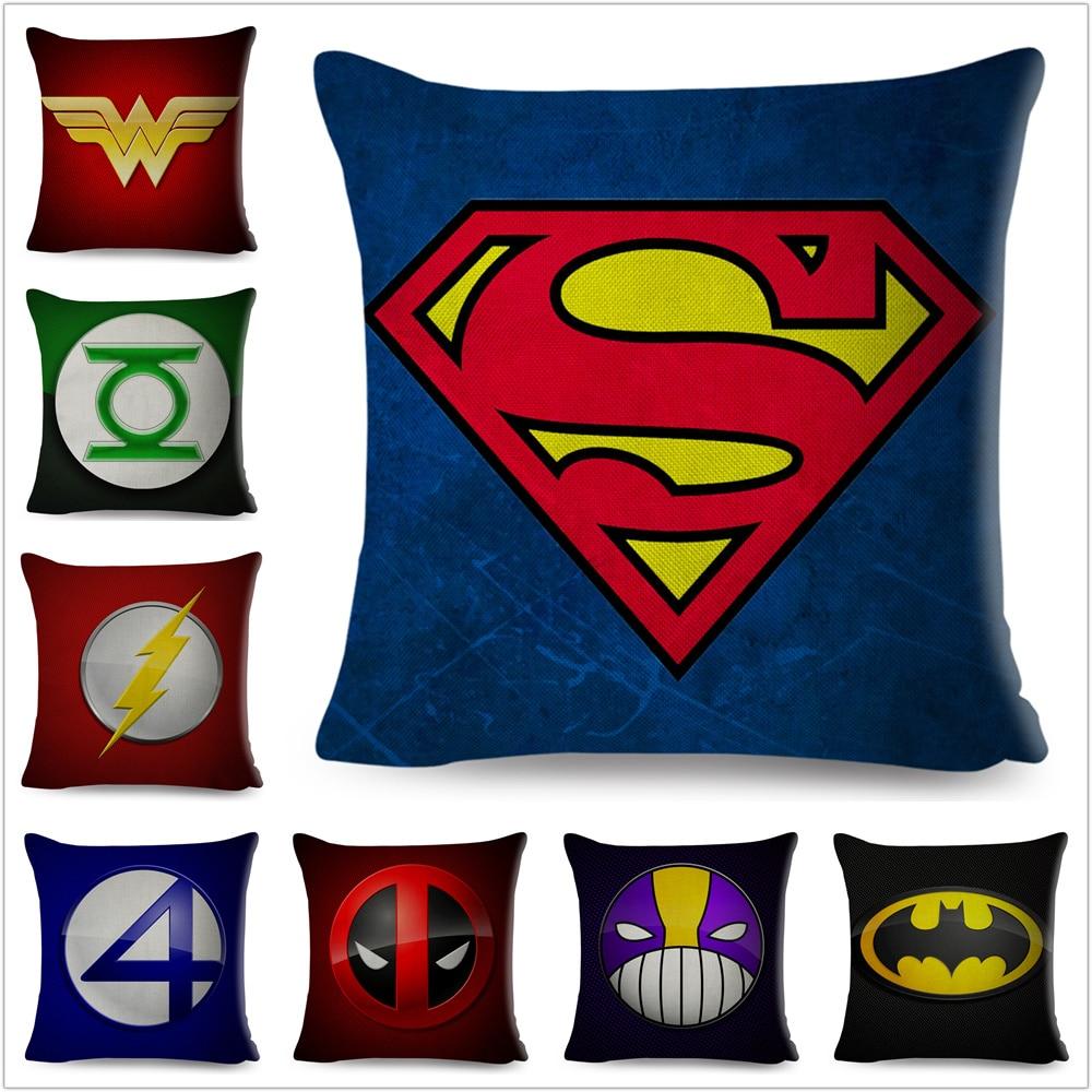 Superhero Logo Superman Deadpool Batman Spiderman Pillow Case Linen Cushion Cover For Sofa Home Decor Cartoon Pillowcase 45x45cm