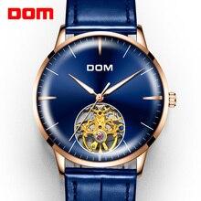 Часы DOM Мужские механические, роскошные брендовые автоматические с синим кожаным ремешком, водонепроницаемость 3 АТМ