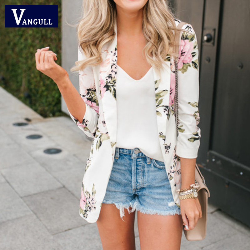 Vangull Floral Printed Women Blazer Notched Collar Long Sleeve Office Ladies Coat Tops 2020 Spring Autumn Casual Female Blazers