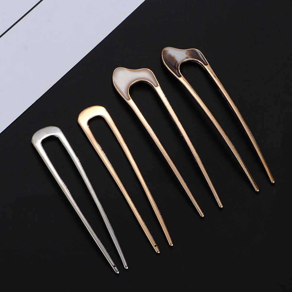 1 pieza en forma de U Clip para el cabello Vintage metálico Metal palillo para el cabello herramientas de estilismo curvadas horquilla para el cabello