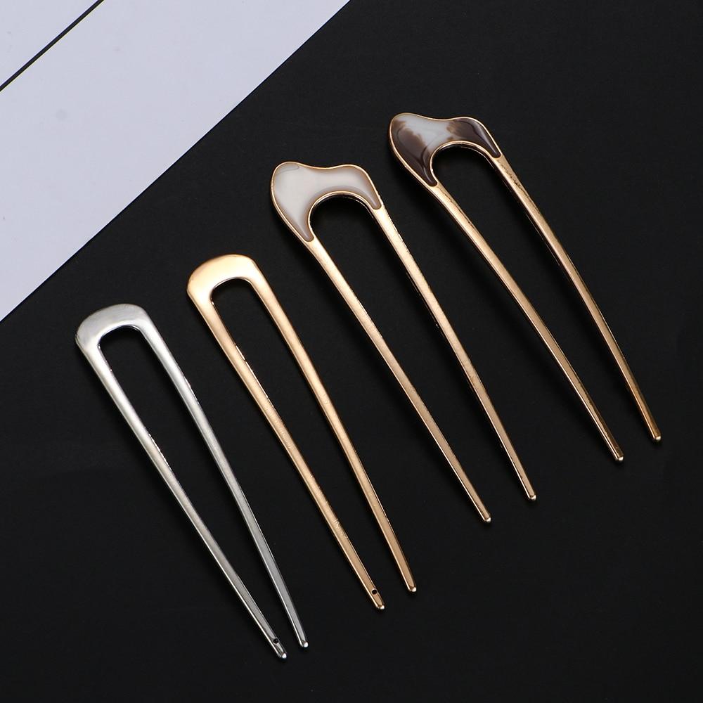 Women Girls Japanese Minimalist Style Metal Alloy U-Shape Conch ShellHair Clip Vintage Hair Sticks Maker Headwear Tool