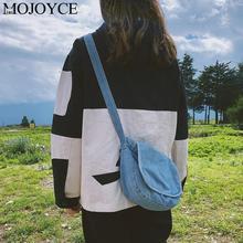 Fashion Blue Classical Women Canvas Denim Crossbody Bags Pure Color Casual Flap Girls Shoulder Bag Purse Messenger Handbag