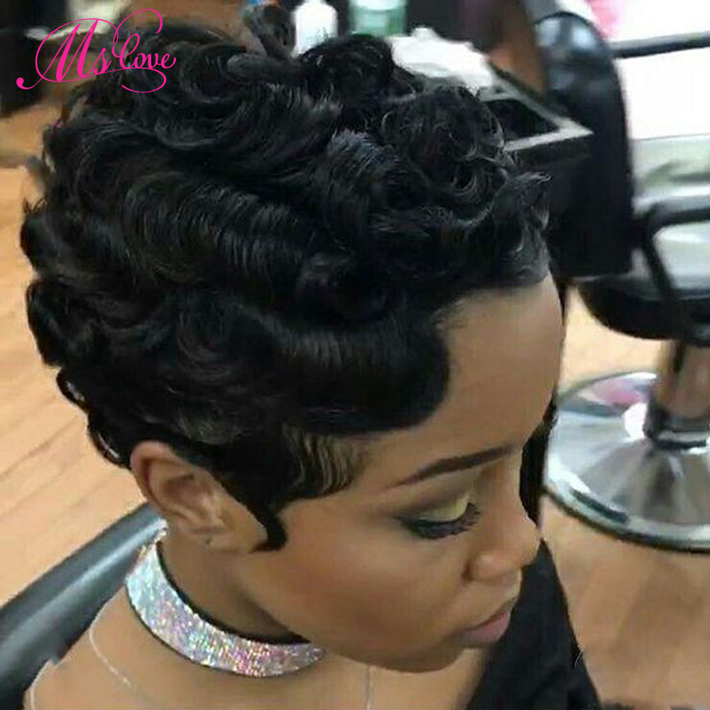 Short Human Hair Lace Wigs 4 Inches Deep Wave Finger Wave Wig Non Remy Brazilian Wig For Black Women Natural Black Ms Love