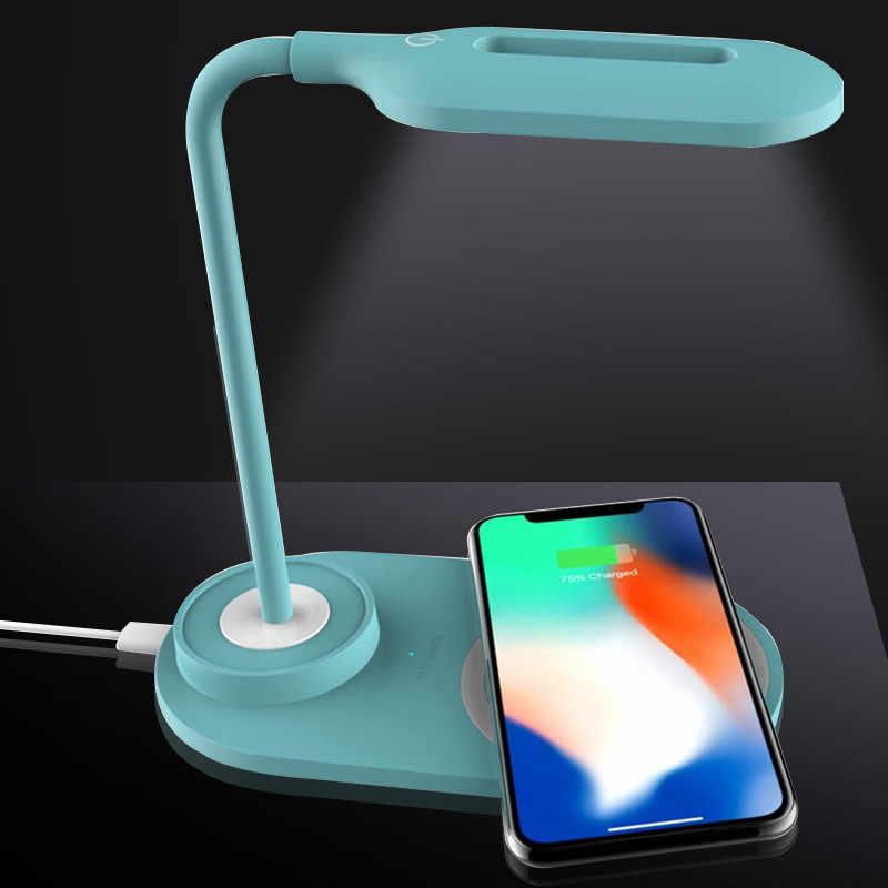 10 Вт/7,5 Вт/5 Вт Qi Беспроводное зарядное устройство для iPhone X 8 Plus XS MAX XR быстрая Беспроводная зарядка для samsung S8 S9 телефон с настольной лампой