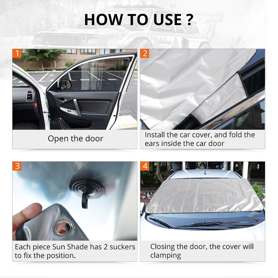 Windshield Sunshades Car Front Windscreen Cover Universal Automobile Magnetic Sunshade Snow Shield Cover Winter Visor Cover